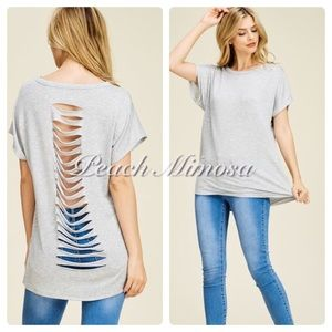 Tops - Heather gray laser cut back top